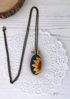 Sunflower necklace - Embroidered sunflower pendant - Sunflower jewelry - Gift for mom - Embroidered jewelry Sunflower Necklace, Sunflower Jewelry, Sunflower Gifts, Embroidery Jewelry, Embroidery Art, Jewelry Gifts, Handmade Jewelry, Valentine's Day, Gifts For Mum