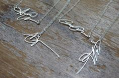 Custom Silver Signature Necklaces.