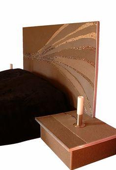 Mosaic bed head. Marie-Laure BOURBON, Mosaïste d'Art, Charente Maritime Laura Lee, Bourbon, Copper Bedroom, Led Reading Light, Mosaic Furniture, Mosaic Art, Decoration, Floor Rugs, Bronze