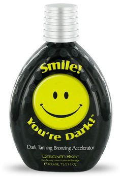 This lotion is simple and to the point. Smile because it's a dark tanning bronzing accelerator! We honestly can't keep this on our shelves, every time it's up there, it's gone the next day. Plus you can't turn down a smile :)