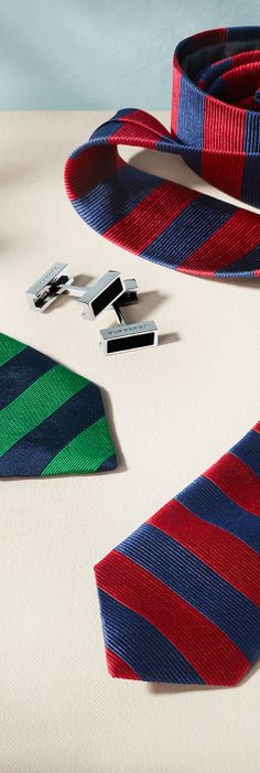 Silk runway ties in bold stripes and enamel detail cufflinks from the Burberry S/S14 men's accessories collection