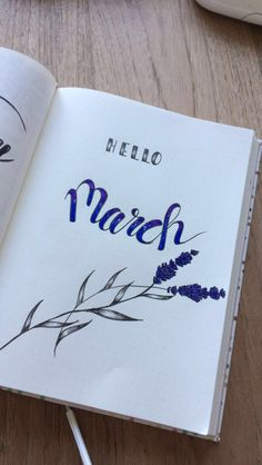 March bullet journal monthly spread lavender caligraphy