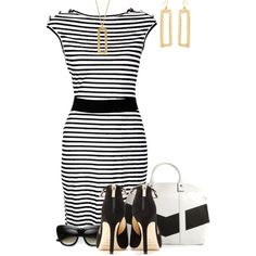 Black White & Gold, created by kswirsding on Polyvore