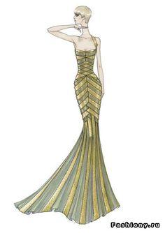 эскизы платьев версаче