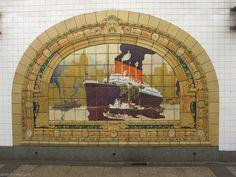 Fulton Street station, Rookwood Pottery, Courtesy Mandy of Emm in London New York Subway, Nyc Subway, Subway Art, Subway Tiles, London Underground, Fulton Street, New York Harbor, Rookwood Pottery, S Bahn