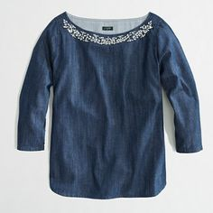 Factory jeweled chambray boatneck top - blouses - FactoryWomen's Shirts & Tops - J.Crew Factory