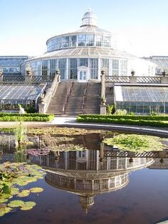 Copenhagen Botanical Garden. Just love the way the conservatory is reflected in the pond.