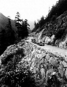 Cars on the Fraser Canyon Road Between Spuzzum and Lytton, late Fraser Canyon, Fraser River, Fraser Valley, Canada Pictures, Old Pictures, Old Photos, Vintage Photos, Vancouver, West Coast Canada
