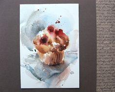 Watercolor Muffin by Maria Stezhko