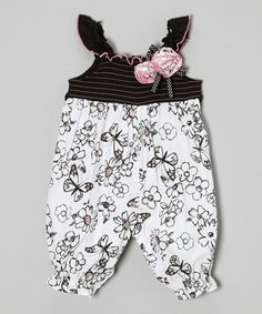 Another great find on #zulily! Black & White Floral Shirred Jumpsuit - Infant by Youngland #zulilyfinds