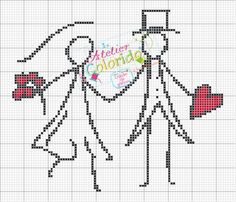 DIY: free wedding cross s Cross Stitch Pictures, Cross Stitch Heart, Wedding Cross Stitch Patterns, Cross Stitch Designs, Cross Stitching, Cross Stitch Embroidery, Beading Patterns, Embroidery Patterns, Crochet Chart