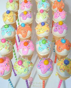 Candyland inspired ice cream cone cake pops
