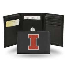 Illinois Fighting Illini Embroidered Leather Trifold Wallet