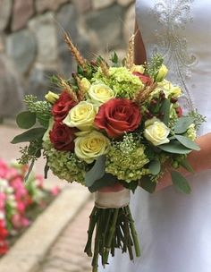 Open yellow and red roses wedding flower bouquet, bridal bouquet, wedding flowers, add pic source on comment and we will update it. www.myfloweraffair.com can create this beautiful wedding flower look.