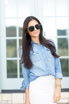 Chambray for the Win... - Pink Peonies by Rach Parcell