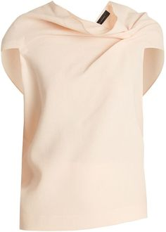 be964986d614 Roland Mouret Eugene fold-back double-wool crepe top