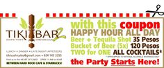 PRINT OUT THIS COUPON AND USE TO PARTY ALL DAY AND ALL NIGHT LONG in the TIKI BAR 2 in Cabo San Lucas. Find them between the Hard Rock Cafe and Starbucks! San Jose Del Cabo, Cabo San Lucas, Beer Bucket, Alcoholic Drinks, Cocktails, Tequila Shots, Sport Fishing, Adventure Tours, Whale Watching