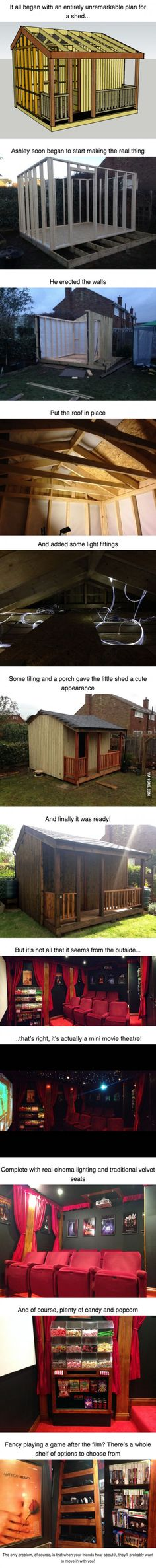 This looks like an ordinary shed, but nope, it's every movie maniac's dream comes true!