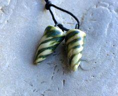 Ancient Mini Seaweed Green Spikes - Handmade Ceramic Charms | Starry Road Studio