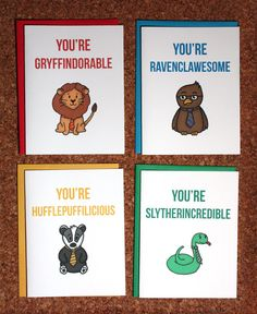 Harry Potter Hogwarts House set, 4 cards / Gryffindor Ravenclaw Hufflepuff Slytherin / Birthday card, Valentine, anniversary, love
