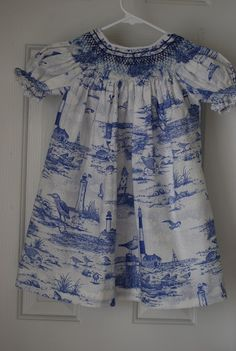 hand smocked blue and white bishop 3T by TessAndMe on Etsy, $60.00