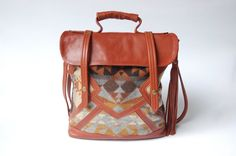 Brown leather and Pendleton tote-  'The Coastal Tote Bag'