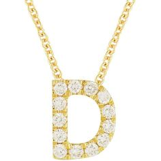 Women's Bony Levy Pave Diamond Initial Pendant Necklace ($498) ❤ liked on Polyvore featuring jewelry, necklaces, yellow gold, letter charms, chain pendant necklace, charm necklaces, diamond pendant necklace and diamond necklace