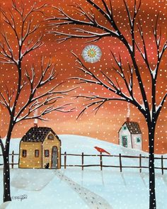 "Illustration of two small homes during snowfall with smoke coming from their chimneys - ""Winter Cabins"" wall art by Karla Gerard from Great BIG Canvas Art And Illustration, Images D'art, Art Fantaisiste, Painting Prints, Art Prints, House Painting, Framed Prints, Canvas Prints, Inspiration Art"