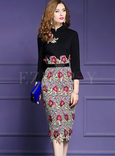 Shop Vintage Mandarin Collar Flare Sleeve Splicing Embroidered Dress at EZPOPSY. Elegant Dresses, Vintage Dresses, Ethnic Fashion, Bohemian Fashion, Women's Fashion, Dress Outfits, Women's Dresses, Dresses Online, Fashion Terms