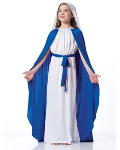 """Magnificent Virgin Mary costume for All Saints Day! Beautiful beyond belief! Christmas Pageant, Christmas Costumes, Halloween Costumes, Christmas Program, Halloween Kids, Halloween Party, Halloween Carnival, Girl Costumes, Cosplay Costumes"