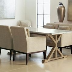 simple beige stone countertop dining table set with chairs