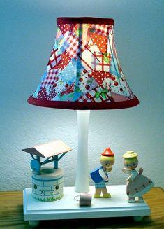 Glue Fabric squares to lamp shade...cute idea...decopauge