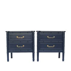 Navy Blue Lacquered Faux Bamboo Nightstands