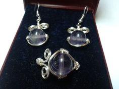 Set cercei argintati si inel cu ametist - 35 Ron