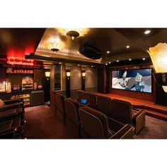 Home Theater Design. I love this theater with the concession stand in it.