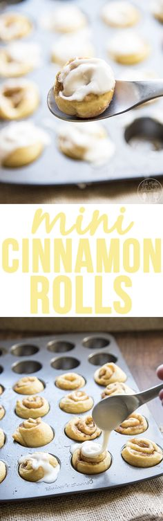 Mini Cinnamon Rolls - These mini cinnamon rolls are ready in less than 20 minutes with canned crescent rolls. With an amazing maple glaze these rolls are irresistible, perfect for breakfast or dessert.