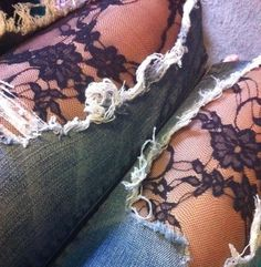 lace under ripped jeans