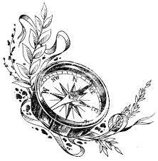 Kompass bleistiftzeichnung  Alte Uhr 3D Bein Tattoo … | Pinteres…