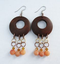Wood Faceted Yellow Jade and Crystal Dangle Chandelier Earrings by GypsyDreamerCafe, $14.50