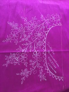 This Pin was discovered by ikr Border Embroidery Designs, Kurti Embroidery Design, Indian Embroidery, Hand Embroidery Patterns, Ribbon Embroidery, Floral Embroidery, Embroidery Stitches, Flower Art Drawing, Beadwork Designs