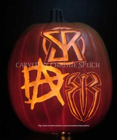 WWE Seth Rollins, Dean Ambrose, Roman Reigns. Carved by Christie Speich. Pattern by Carve Awesome Pumpkins. #CarveAwesomePumpkins #pumpkins #halloween