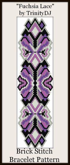 BP-BR-008B -Fuchsia Lace - Brick Stitch Bracelet Pattern - One of A Kind - In The RAW
