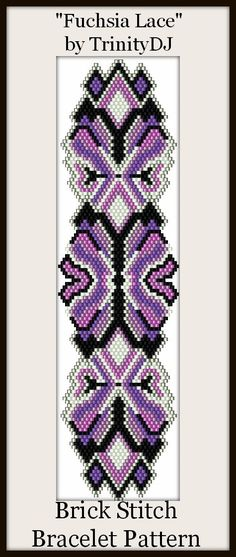 BP-BR-008B -Fuchsia Lace - Brick Stitch Bracelet Pattern - One of A Kind - In The RAW