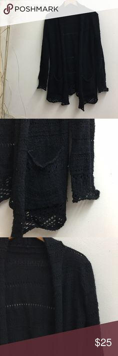 Brandy Melville Black knit cardigan Brandy Melville black knit kid length cardigan, with pockets!! so cute and looks great with everything! one size, fits small Brandy Melville Sweaters Cardigans