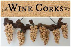 Wine Cork grape clusters on vine. Wine Craft, Wine Cork Crafts, Wine Bottle Crafts, Wine Cork Projects, Wine Cork Art, Recycled Wine Corks, Wine Bottle Corks, Wine Decor, Cork Wreath