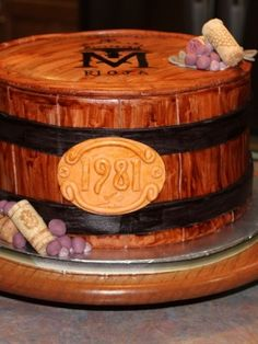 """Wine Barrel Anniversary Cake 3 layer rounds covered in fondant """"wood slats"""" with handpainted winery stamp on top. Wine Theme Cakes, Themed Cakes, Beautiful Cakes, Amazing Cakes, Barrel Cake, 40th Birthday Cakes, Cake Central, Cake Toppings, Love Cake"""