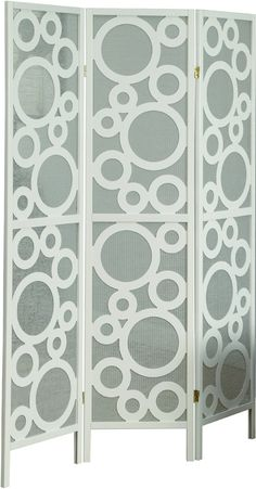 "Monarch Specialties I 4635 White Frame 3 Panel "" Bubble Design "" Folding Screen"
