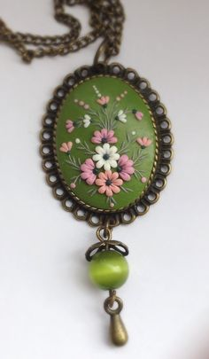 Floral polymer clay delicate green pendant by DonaFleur on Etsy