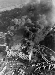 Westlake Hotel fire aerial view :: Westlake Photograph Collection