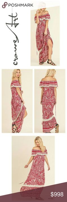 COMING SOON ⚬ Off Shoulder Red Paisley Print Maxi Sweet and sassy off shoulder Maxi dress, perfect to call some warmer Spring weather to life! Crimson red & white with Lace details on a Paisley design, lace & ruffle hemline, off shoulder, sleeveless, ties at waist or can be left to flow wide.    Price will be approx $50  ***PLEASE MESSAGE ME TO BE TAGGED UPON ARRIVAL *** Boutique  Dresses Maxi